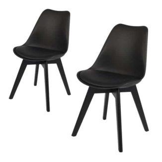 Mia schwarzer Esszimmerstuhl mit schwarzen Beinen