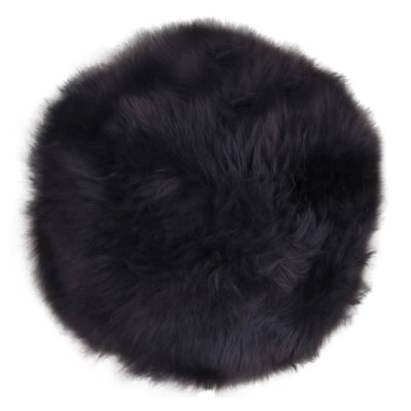 Lammfellkissen in rundem Schwarz