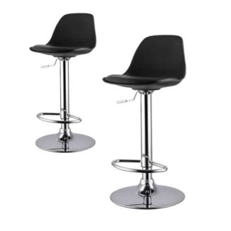 Bar stool_black_chrome_set double