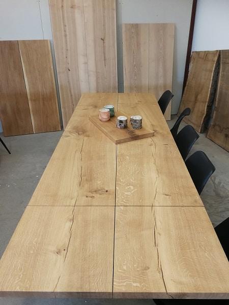 Plank Tisch Eiche mit Naturöl 100 x 240 cm 1 zusätzliche Platte
