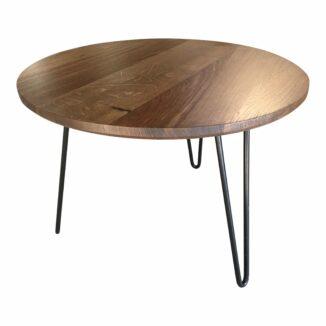 Runder Tisch aus rustikalem Eichenholz aus rundem Tisch