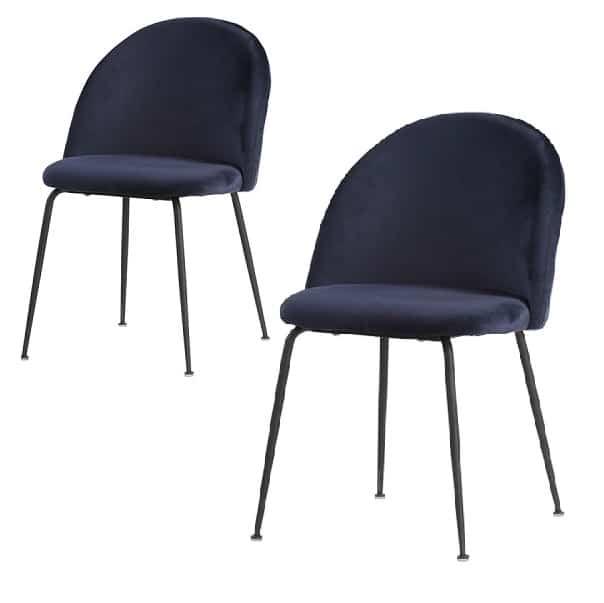 Genfer Esszimmerstuhl blau mit schwarzen Beinen