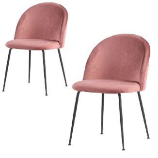 eneve esszimmerstuhl pink mit schwarzen beinen